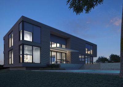 modernes Einfamilienhaus bei Nacht